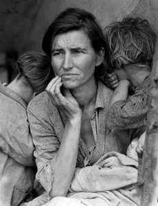 Migrant Mother by Dorothea Lange, on view at the Oakland Museum of California